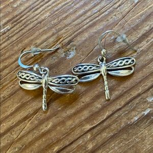 Sterling silver dangle dragonfly earrings